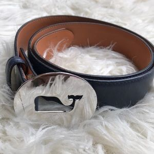 Vineyard Vines Leather Navy Logo Whale Belt sz XS